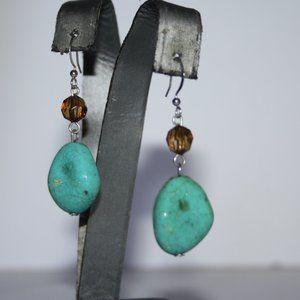 Beautiful silver and turquoise beaded earrings